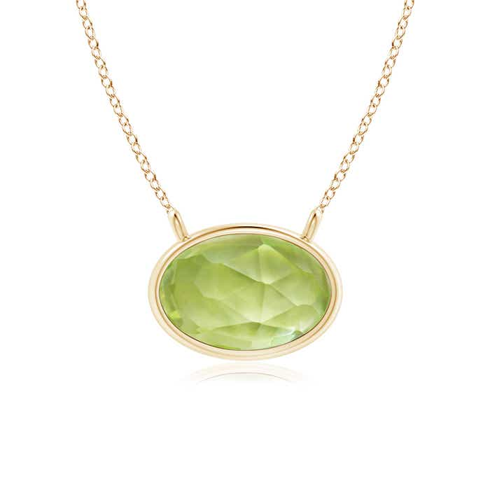 Angara East-West Peridot Pendant with Diamond Bale MS53I00Of