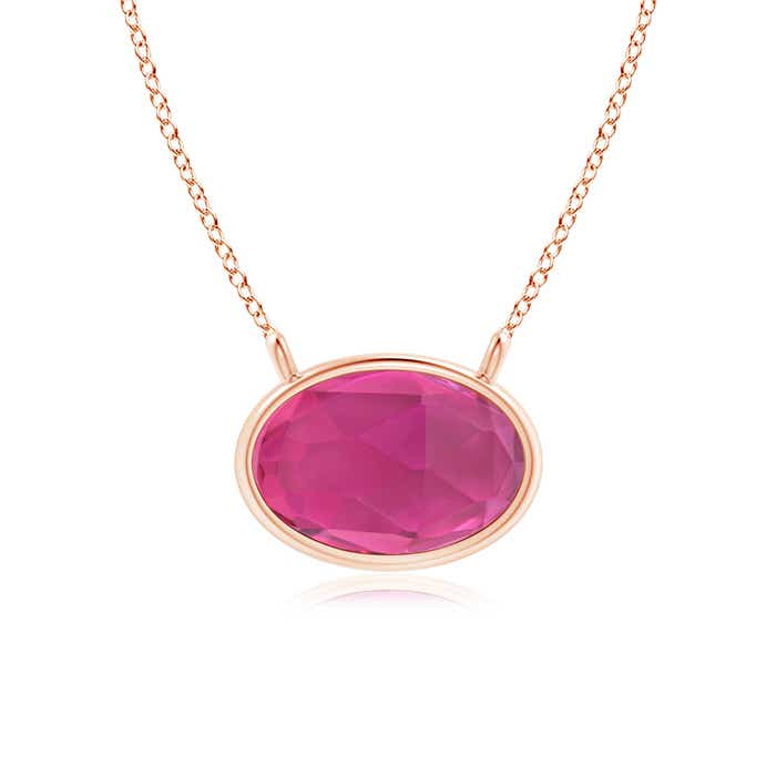 Angara Pink Tourmaline Necklace in 14k Rose Gold vdiGP