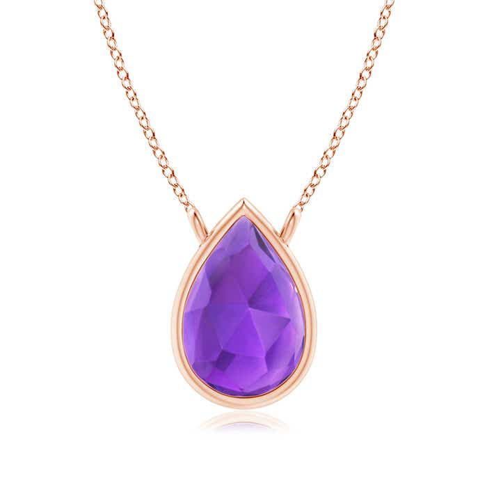 Angara Diamond Halo Amethyst Teardrop Pendant Rose Gold 1aK3E3U