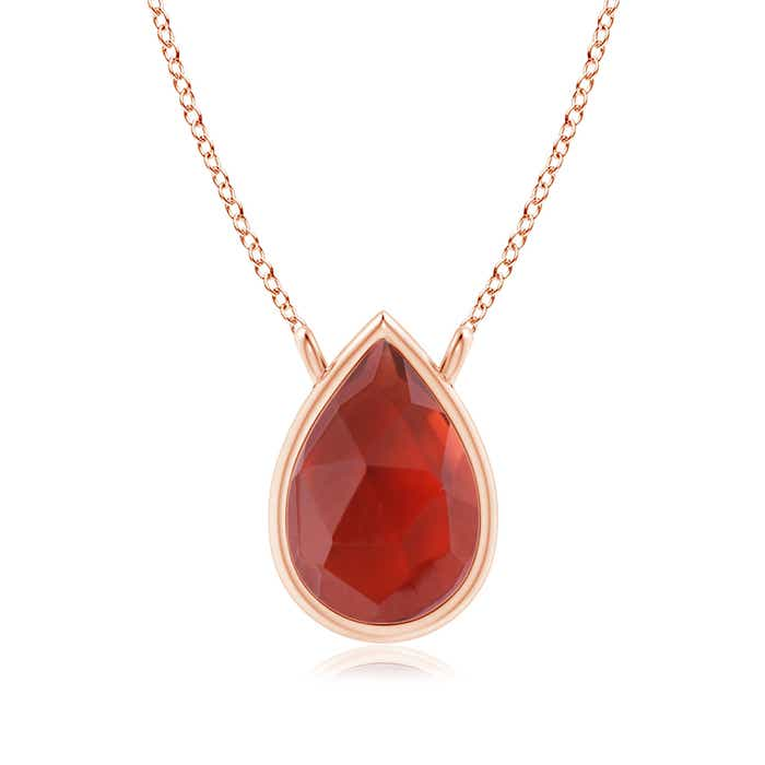 Angara Pear Shaped Garnet Teardrop Necklace in Rose Gold