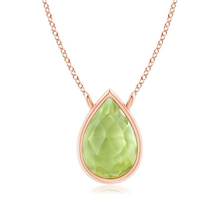 Angara Pear Shaped Peridot Necklace in Yellow Gold