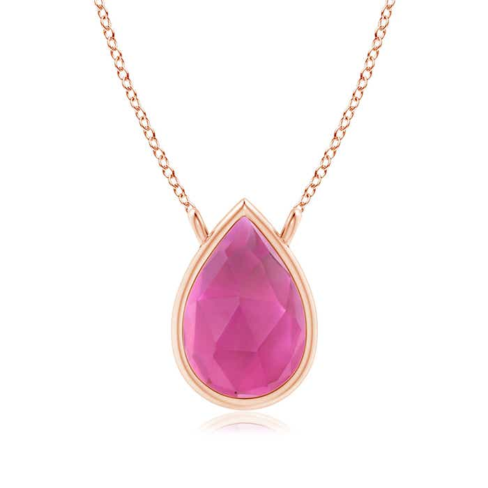 Angara Pear Shaped Pink Tourmaline Diamond Necklace in 14k Rose Gold qg41XzD77