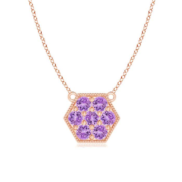 Angara Pink Sapphire Flower Cluster Pendant with Amethyst SpmE0uXX
