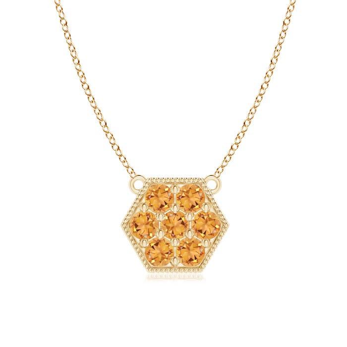 Angara Pave Set Pink Sapphire Hexagon Solitaire Ring with Milgrain fr3UrU1dP