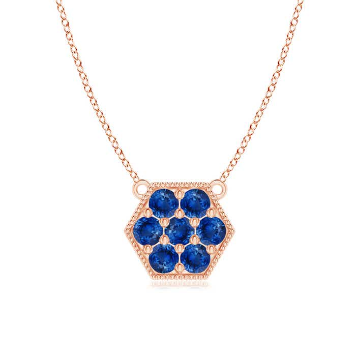 Angara Pave-Set Sapphire Hexagon Necklace with Milgrain 70uYig