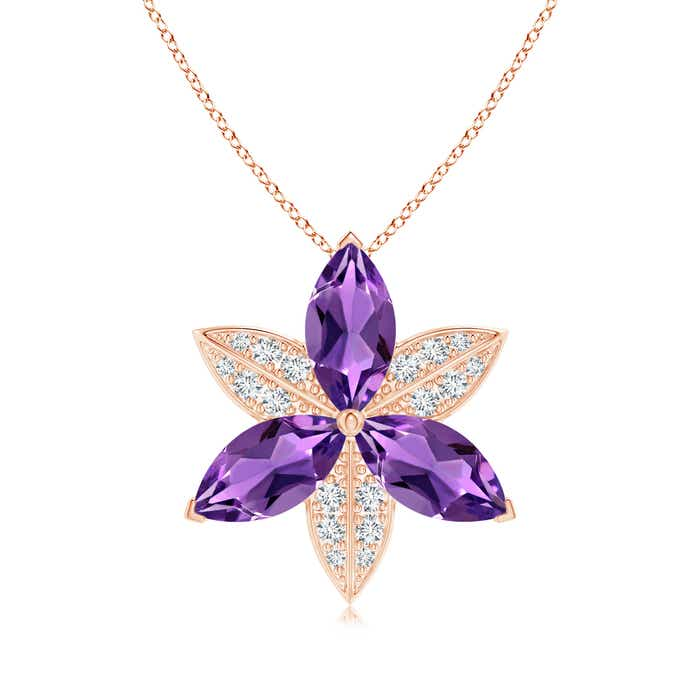 Angara Amethyst Flower Cluster Pendant with Diamond