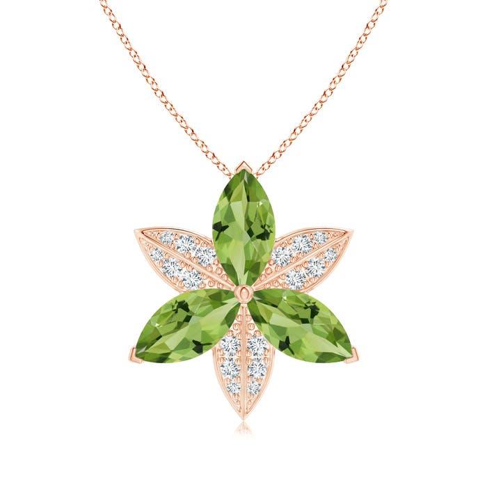 Angara Peridot and Diamond Trillium Flower Pendant cvLIa27z