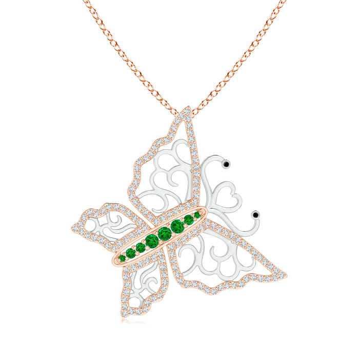 Angara Emerald Calla Lily Pendant Necklace with Diamond Accents OH0YzW