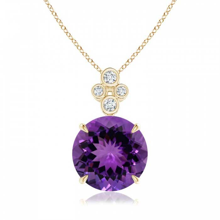 Angara Round Amethyst Necklace for Women in Yellow Gold hkTWhaCSG