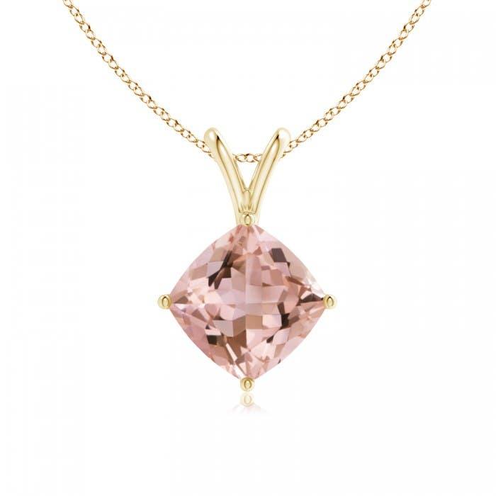 Angara Cushion Morganite Halo V-Bale Pendant with Diamonds qmS7tlkds2
