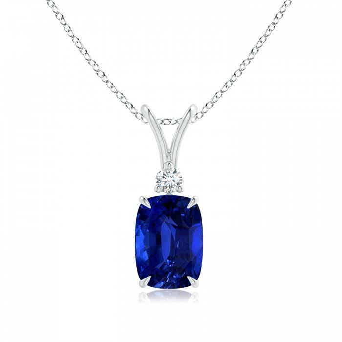 Angara Blue Sapphire Necklace - GIA Certified Blue Sapphire Pendant in Yellow Gold l96wRl
