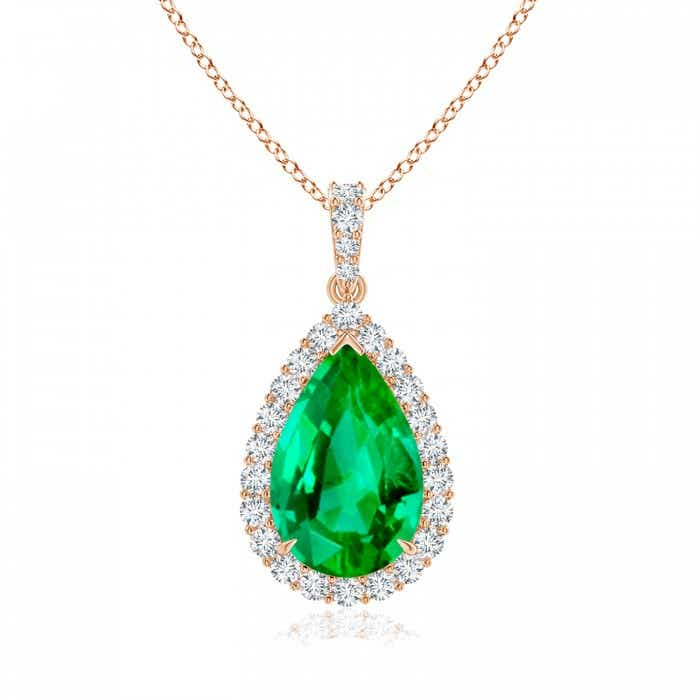 Angara Yellow Gold Diamond Halo Emerald Teardrop Pendant KJCVcmG8