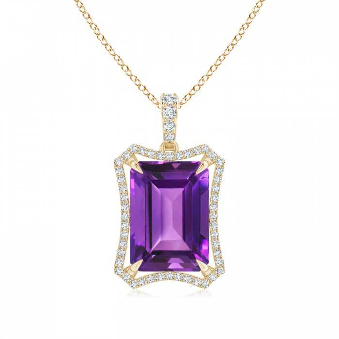 Angara Emerald-Cut Amethyst Pendant with Diamond Trio swBJjJhCxa
