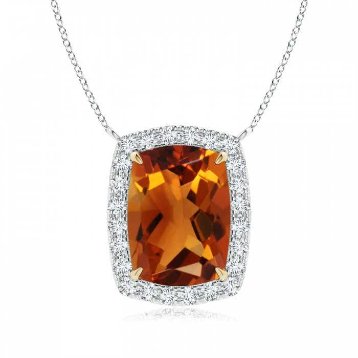Angara Rectangular Cushion Citrine Halo Pendant in Two Tone qx2Ms5Fn