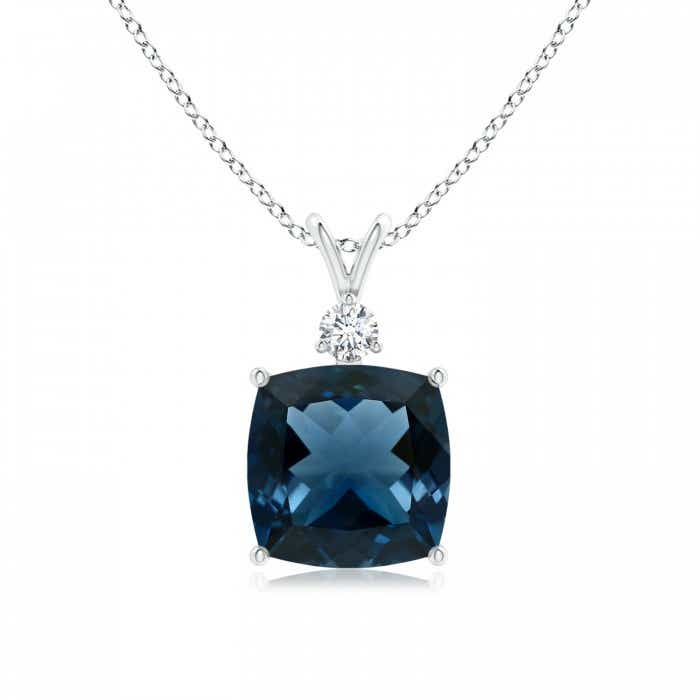 Angara GIA Certified London Blue Topaz Pendant with Diamond sh6weq03O