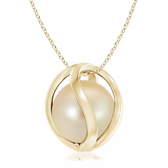 Angara Golden South Sea Cultured Pearl Horseshoe Pendant O9Fs1Dlz47