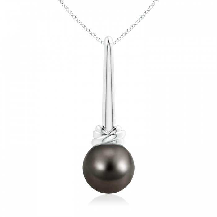 Angara Tahitian Cultured Pearl Lariat Necklace with Diamond Q324zfFau