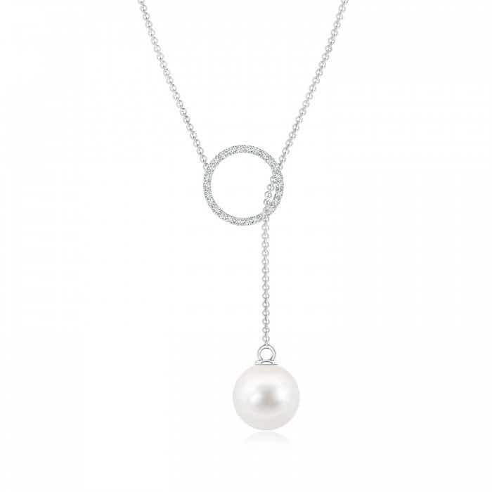 Angara Freshwater Cultured Pearl Lariat Style Necklace with Diamonds MWT93Iw