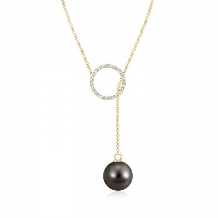Angara Tahitian Cultured Pearl Lariat Necklace with Diamond G4OL9
