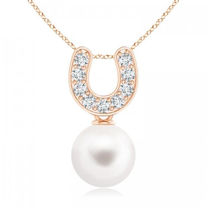 Angara Freshwater Cultured Pearl Horseshoe Pendant with Diamonds Y1hWqkn