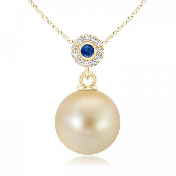 Angara South Sea Cultured Pearl and Sapphire Halo Pendant w4P3dMYg