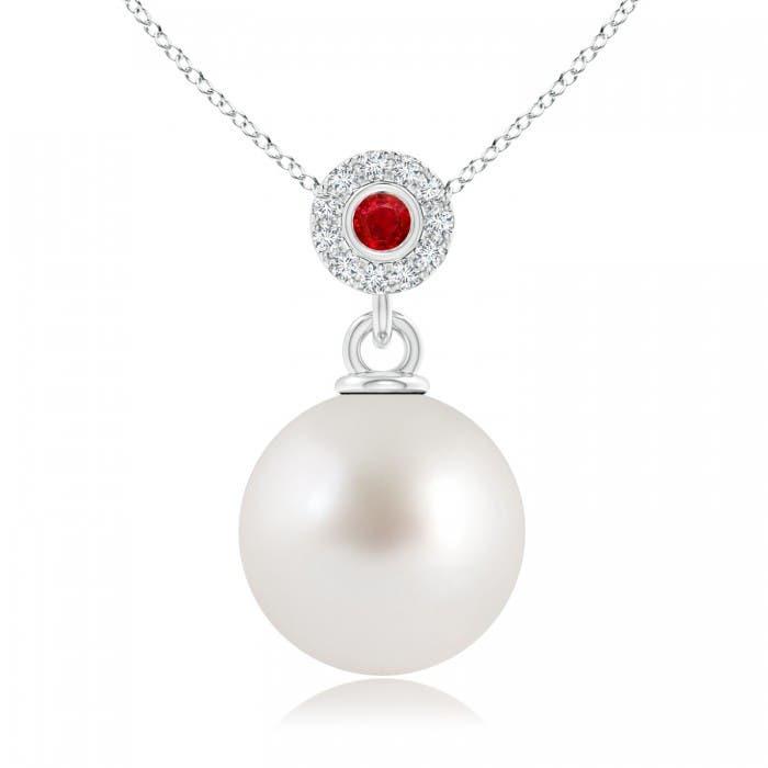 Angara South Sea Cultured Pearl Halo Pendant with Bezel Sapphire qe6XMb