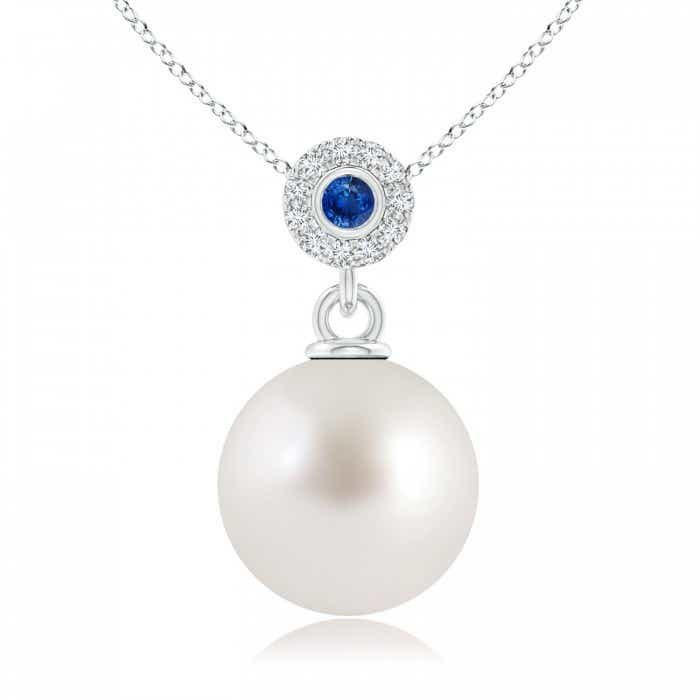 Angara South Sea Cultured Pearl Drop Pendant with Sapphires IS8zMk7Y