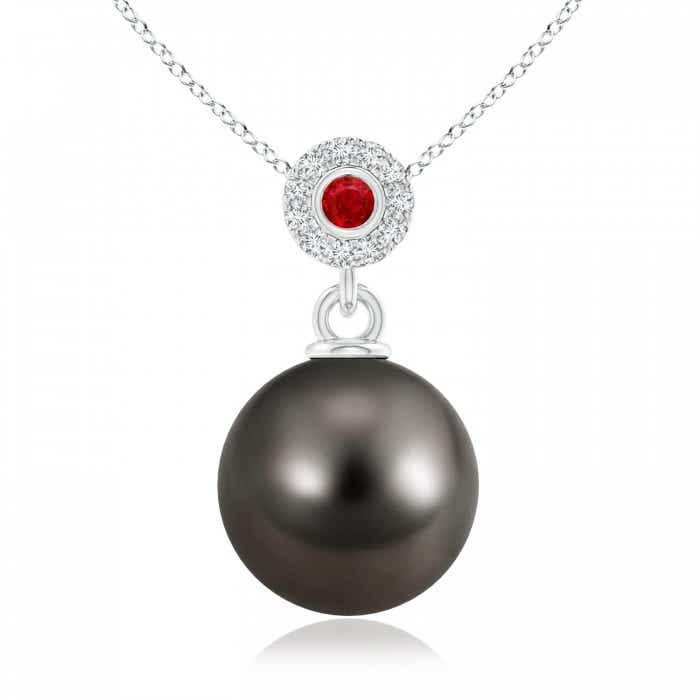 Angara Tahitian Cultured Pearl Halo Pendant with Bezel Ruby 1lMoXfGAxN
