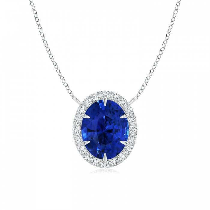 Angara GIA Certified Oval Sapphire Pendant with Double Diamond Halo