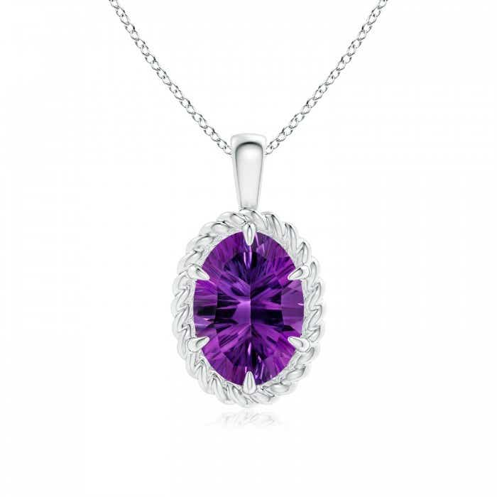 Angara GIA Certified Oval Amethyst Twisted Rope Pendant xypX3zxzH