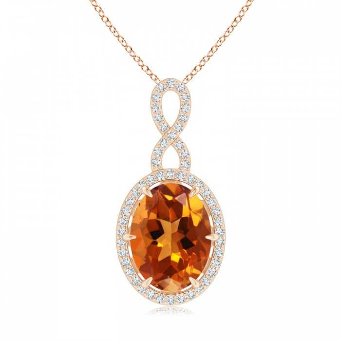 Angara Vintage Style Oval Citrine Pendant with Diamond Halo pHIHiOKN