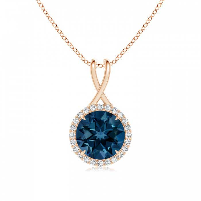 Angara Natural London Blue Topaz Necklace in Platinum zbx03