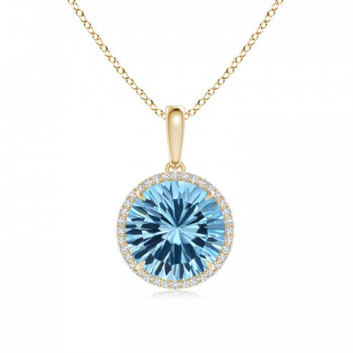Angara London Blue Topaz Necklace - GIA Certified London Blue Topaz Pendant with Diamond ntxLqQw