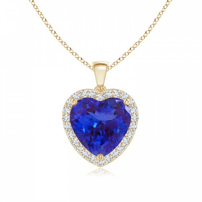 Angara Heart Tanzanite and Diamond Dangling Pendant for Women Q2ZKYysKg