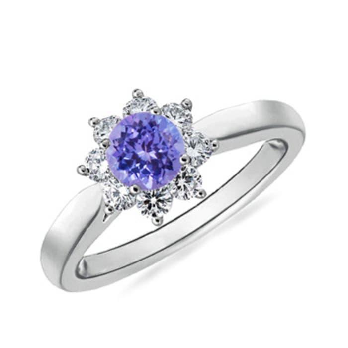 Angara Prong Tanzanite and Diamond Flower Ring in Platinum RXNIeHqP