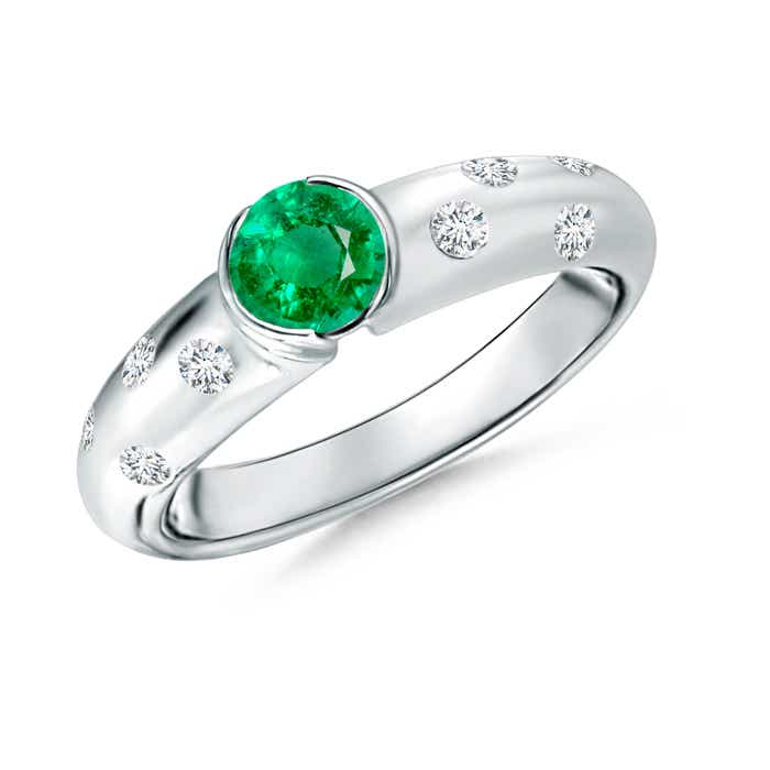 Angara Semi Bezel Dome Emerald Ring with Diamond Accents in Platinum D0EUAdM