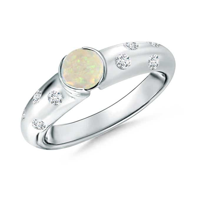 Angara Bezel-Set Opal Engagement Ring with Diamond Accents in Yellow Gold bGC5DkcBfG