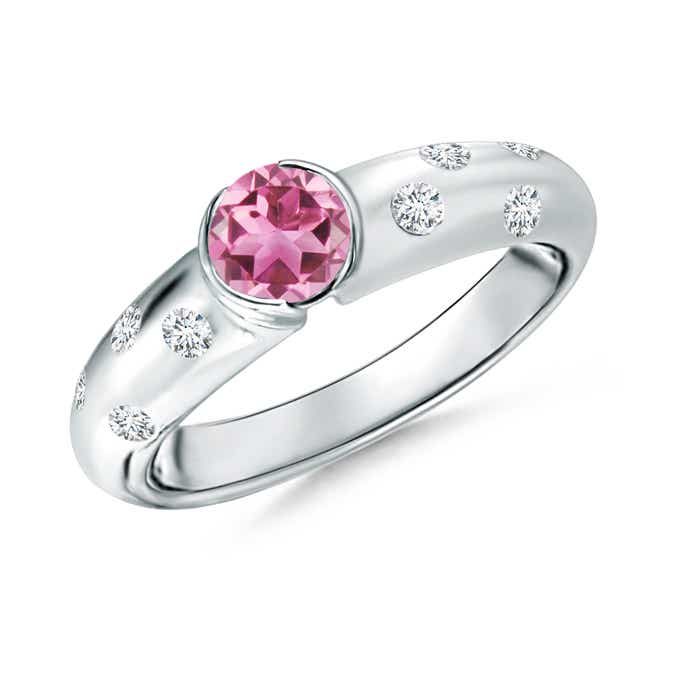 Angara Tapered Shank Pink Tourmaline Solitaire Ring with Diamond Accents Z38EQjj