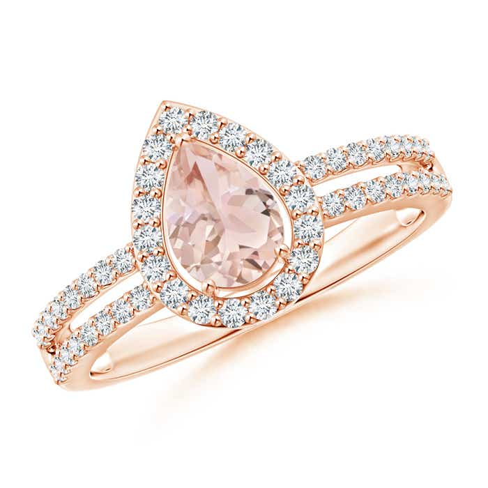Angara Prong-Set Pear Shaped Morganite Ring with Diamond Halo