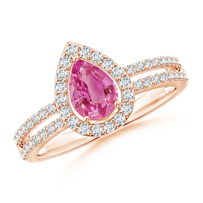 Angara Split Shank Pear Pink Sapphire and Diamond Halo Ring 1cpgH