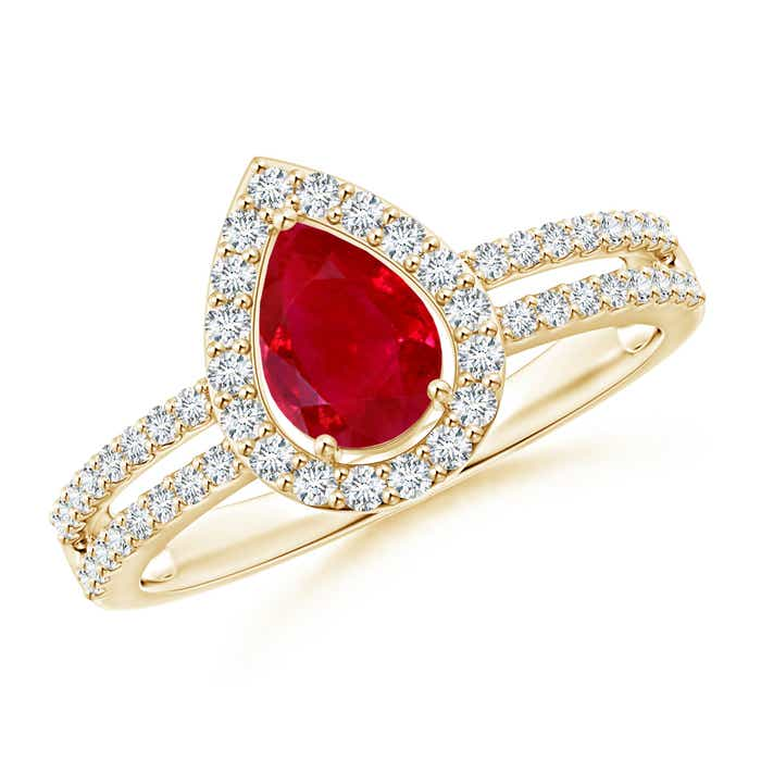 Angara Classic Diamond Halo Ruby Split Shank Ring in 14k Yellow Gold