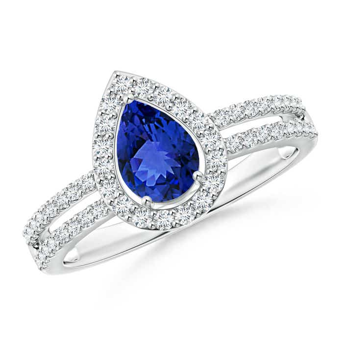 Angara Prong-Set Solitaire Tanzanite Split Shank Ring JuTVA7kM
