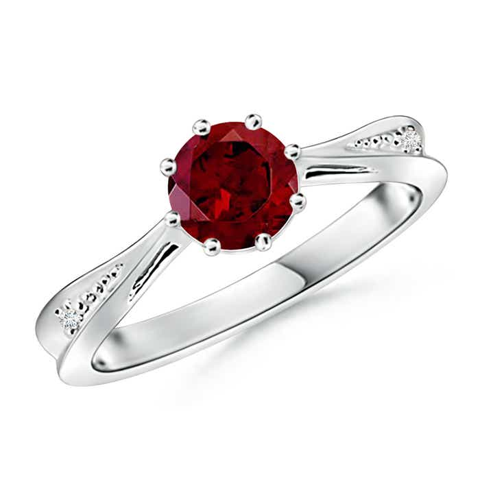 Angara Solitaire Ruby Tapered Shank Ring with Diamond in Platinum