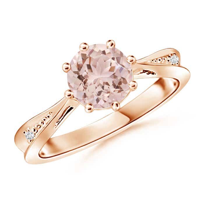 Angara Tapered Shank Morganite Solitaire Ring with Diamond Accents 39Pqr