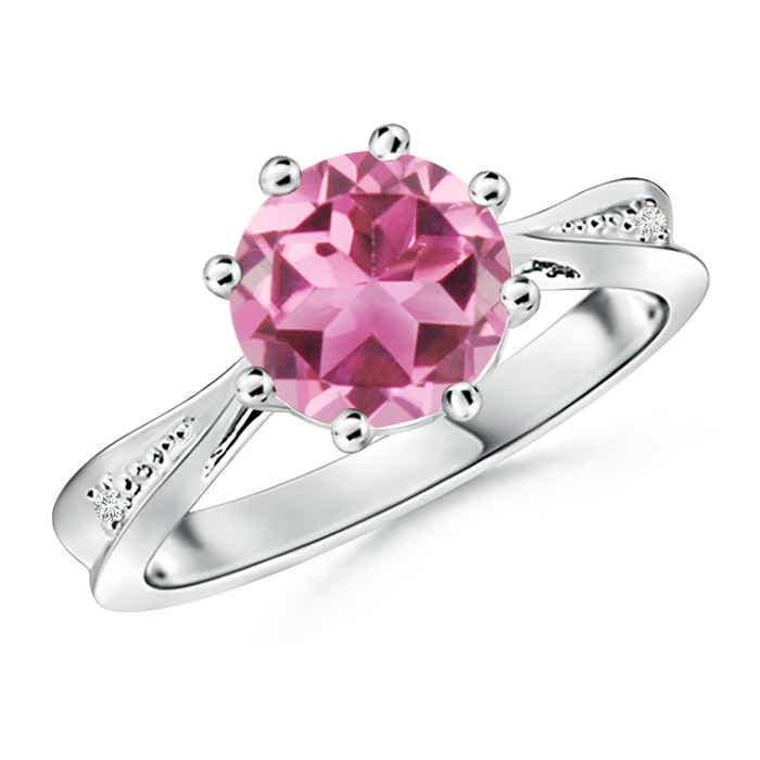 Angara Solitaire Pink Tourmaline Ring with Diamond in Rose Gold tXiLiF7Ov