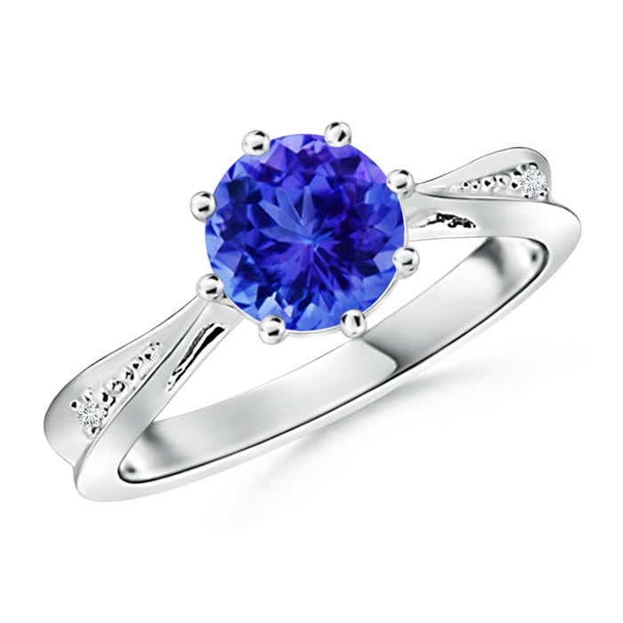 Angara Solitaire Tanzanite Tapered Shank Ring OEBpw