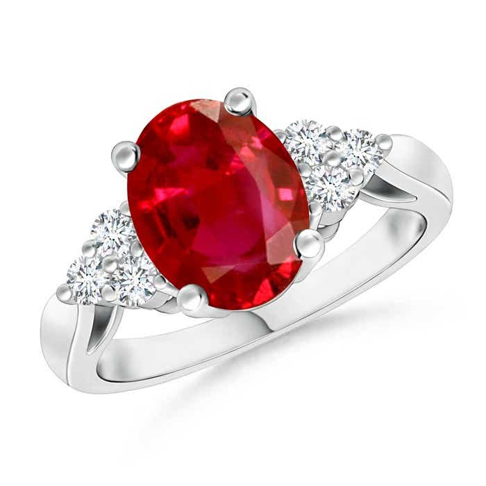 Angara Trio Diamonds and Oval Ruby Cocktail Ring in White Gold