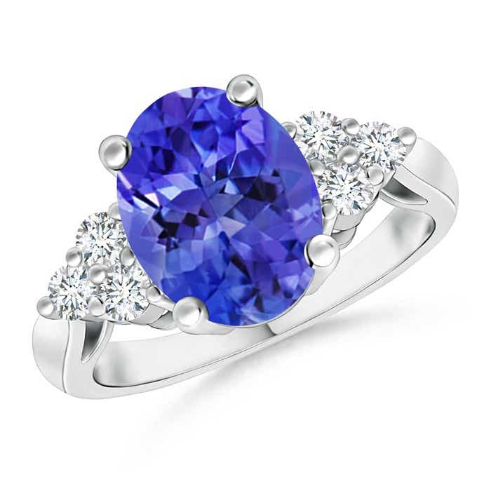 Angara Trio Diamonds and Oval Tanzanite Cocktail Ring in Yellow Gold