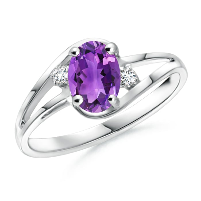 Angara Solitaire Amethyst Bypass Ring in Rose Gold Hs9nK8e
