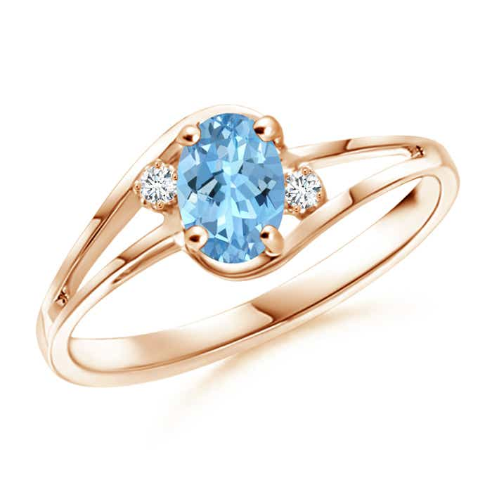 Angara Aquamarine and Diamond Engagement Ring in Rose Gold Q58SvBLg